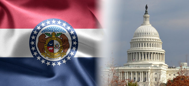 MO State flag and capitol building
