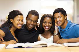 African-American students with books