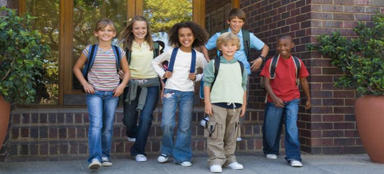 school kids outside school